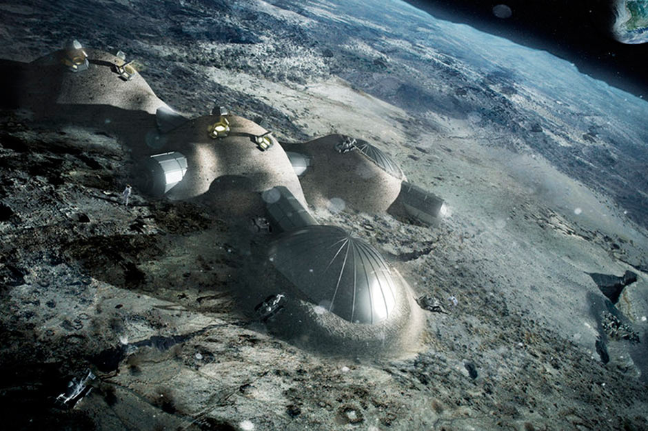 A rendering of a multi-dome lunar base being constructed, based on the 3D printing concept. Once assembled, inflated domes will be repeatedly covered with a layer of 3D-printed lunar regolith. Copyright ESA