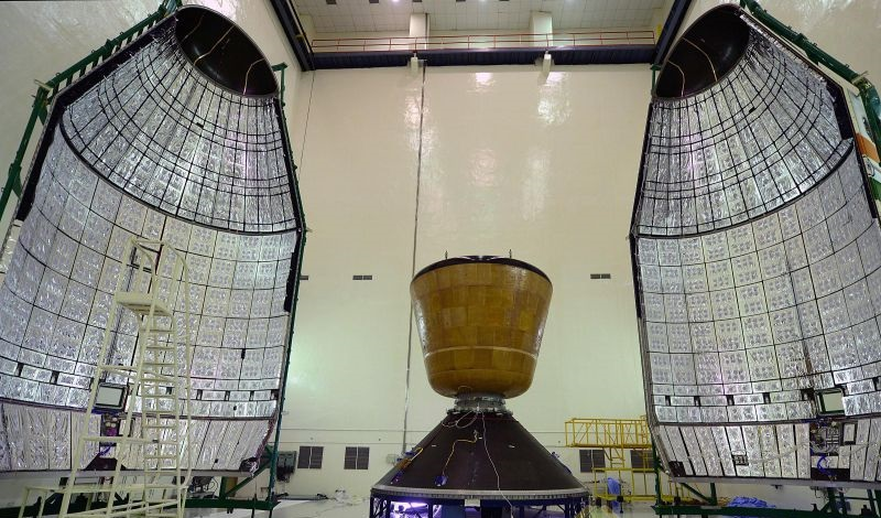Indian Space Research Organisation`s crew module, which was launched from Satish Dhawan Space Centre at Sriharikota, Andhra Pradesh in 2014.