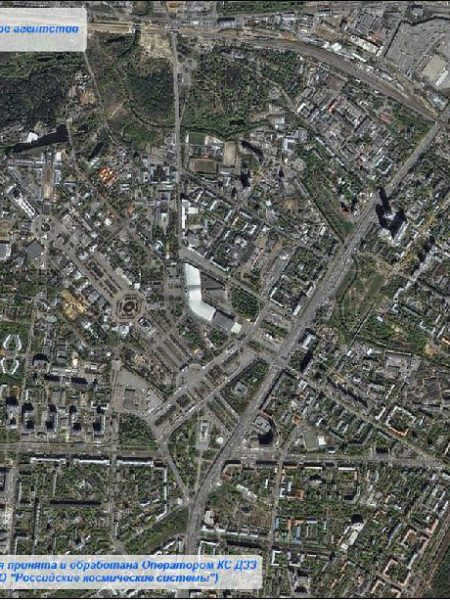 Kanopus-V1 PSS pan-sharpened image of Moscow, Russia, acquired on 6 May 2015. Image credit: NTs OMZ.
