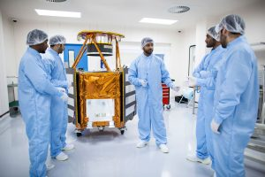 The mechanical engineering team of the Mohammed bin Rashid Space Centre in discussions. Photograph courtesy of the Mohammed bin Rashid Space Centre.