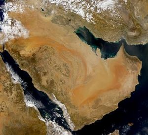 An image of the Arabian Peninsula taken from space. Image courtesy of Wikipedia.