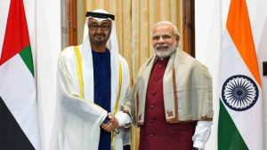 India's Prime Minister Narendra Modi shakes hands with H.H. Sheik Mohammed bin Zayed Al Nahyan, Crown Prince of Abu Dhabi, in New Delhi, India, 11 February 2016. Photograph courtesy of the Press Trust of India.