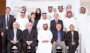 Dr. Khalifa Al-Romaithi (front and centre), Chairman of the UAE Space Agency, pictured with members of the UAE Space Agency's Advisory Committee and officials of the UAE Space Agency. Photograph courtesy of the UAE Space Agency.