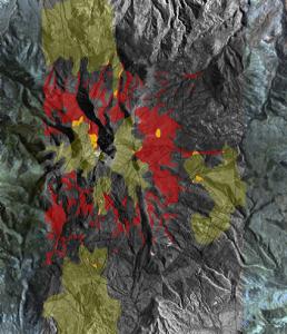 3-D裸岩模型©对卫星数据进行分类,以区分岩石和岩层类型。该矿物分类图显示了含有高浓度铜(红色)和长石(绿色)的区域。铜和长石的空间相关性位置已确定(黄色)预期目标。图片由Auracle遥感公司提供。