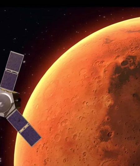 An artist's depiction of UAE's Hope Mars Mission orbiting Mars. Image courtesy of the Mohammed bin Rashid Space Centre.