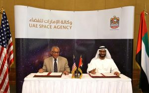 NASA Administrator Charlie Bolden (left) and H.E. Dr. Khalifa Al Romaithi, Chairman of the UAE Space Agency (right), after signing the MoU. Photograph courtesy of U.S. Embassy in Abu Dhabi, UAE.