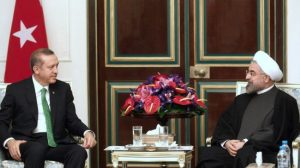 Turkish President Recep Tayyip Erdogan (left) with President Hassan Rouhani of Iran. Photograph courtesy of Press TV and IRNA.