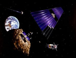 Artist's concept from the 1970s of asteroid mining. Courtesy of Wikipedia