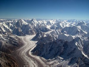 The Baltoro Glacier in the Karakorum Range of the Himalaya Mountains. Photograph courtesy of Wikipedia.