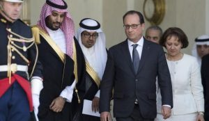 French President Francois Hollande accompanies Saudi Deputy Crown Prince Mohammed bin Rashid in Paris on a visit made on 24 June 2015. Photo courtesy of www.aawsat.com.