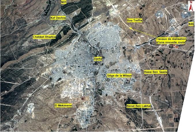 Image of the city of Djelfa, provincial capital of Djelfa Province, Algeria. Image courtesy of Agence Spatiale Algerienne.