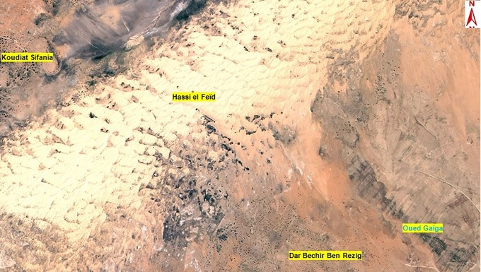 ALSAT-2A image of a large dune in Djelfa Province, Algeria. Image courtesy of Agence Spatiale Algerienne.