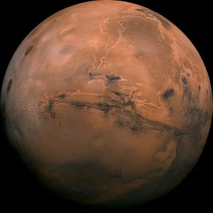 A NASA image of the planet Mars. Photograph courtesy of NASA.