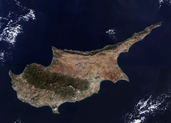 Sentinel-2 image of Cyprus in the Eastern Mediterranean. Image courtesy of the European Union.