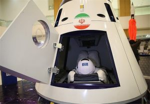 A mock-up of the Iranian Space Agency's human-rated space capsule. Photograph courtesy of the Tasnim News Agency.