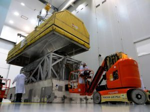 Intelsat-33E readied for departure from Boeing's El Segundo, California, plant. Photograph courtesy of Intelsat.