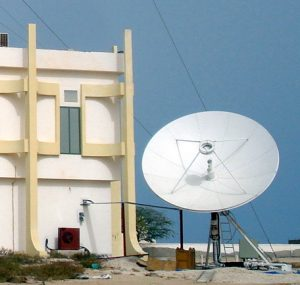 A satellite dish in Nouakchott, Mauritania. Photograph courtesy of SVS Satellite Systems.