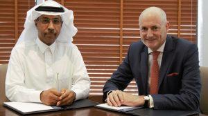Arabist's CEO, Khalid Bin Ahmed Balkheyour, and MBC Group CEO, Sam Barnett, sign their strategic cooperation agreement on 1 August 2016. Photograph courtesy of Arabsat.