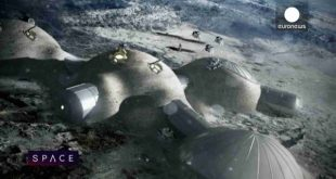 An artist's depiction of the European Space Agency's Moon Village concept. Image courtesy of the European Space Agency.