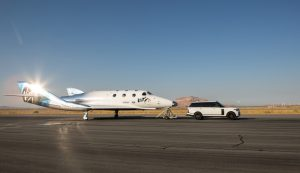 Virgin Galactic's SpaceShipTwo (VSS Unity) being towed by a Range Rover Autobiography in New Mexico on 1 August 2016. Photograph courtesy of Virgin Galactic.