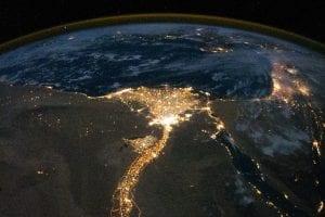 The Nile Delta at night. Image courtesy of NASA.
