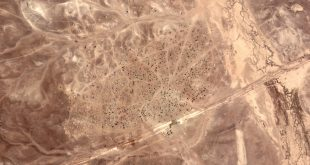 Image of refugee camp at the Syrian-Jordanian border taken by UrtheCast's Deimos-2 remote sensing satellite. Credits: UrtheCast.