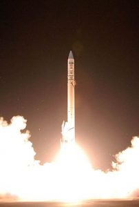 An Israeli Ofek-7 reconnaissance satellite launched by an Israeli Shavit space launch vehicle from Palmachim Air Base, Israel, in 2007. Photograph courtesy of Wikipedia.