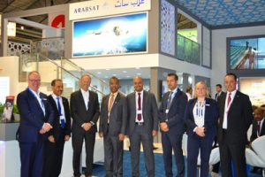 Arabist and Newtec executives at the IBC 2016 exhibition in Amsterdam, The Netherlands, on 9 September 2016 Photograph courtesy of Newtec.