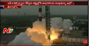 The launch of India's SCATSAT-1, as well as seven other satellites including three Algerian ones, captured on camera as it was launched on 26 September 2016 from India. Image courtesy of NTV.