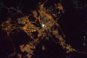 Photograph of Mecca at night taken by Russian cosmonaut Anton Shkaplerov from the International Space Station on 26 January 2015. Photograph courtesy of Roscosmos.