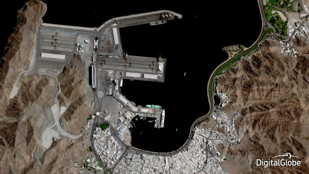 Image of Muscat, Oman, taken by DigitalGlobe's GeoEye-1 on 10 October 2014. Image courtesy of DigitalGlobe.