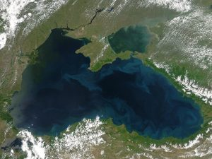 A satellite image of the Black Sea, as captured by the Moderate Resolution Imaging Spectroradiometer (MODIS) on NASA's Aqua satellite on 22 May 2004. Image courtesy of NASA.