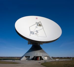 The Erdfunkstelle Raisting satellite antenna in Bavaria, Germany. Photograph courtesy of Wikipedia.