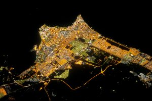 Photograph of Kuwait City at night taken from the International Space Station on 9 August 2012. Photograph courtesy of NASA.