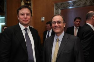 Professor Scott Pace (right), SpaceWatch Middle East Advisory Board member, with Elon Musk (left). Photograph courtesy of George Washington University.