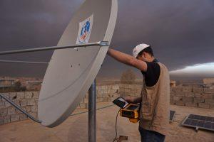 VSAT setup near Qayyarah; Credits: TSF