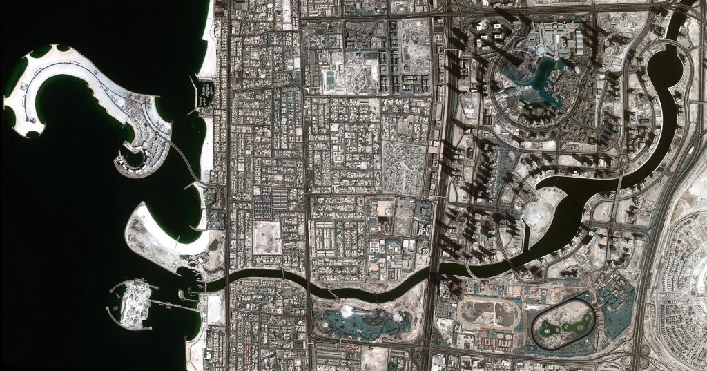 DubaiSat 2-captured image of the Dubai Water Canal full of water. Credits: MBRSC