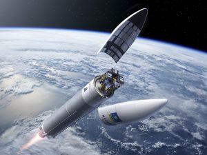 Illustration of an Ariane 5 ES with four Galileo satelites; Copyrights: ESA
