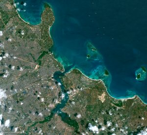 An image of the Tanzanian capital, Dar es Salaam, taken by SPOT-6. Image courtesy of Airbus Defence & Space.