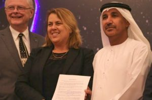 Dr. Michael Simpson, Executive Director of Secure World Foundation (left); Simonetta Di Pippo, Director, United Nations Office of Outer Space Affairs (centre); and Dr. Mohammed Nasser Al-Ahbabi, Director-General of the United Arab Emirates Space Agency, in Dubai upon the drafting of the Dubai Declaration on 24 November 2016.