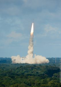 The second Arianespace Vega launch in 2016 was successfully performed from the SLV launch pad at Europe's Spaceport in French Guiana; Credits: Arianespace