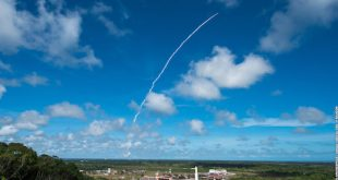 Arianespace's Vega launcher ascends from the Spaceport with its Earth observation payload on December 5, 2016. Flight VV08. GÖKTÜRK-1; Credits: Arianespace