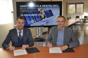 Thomas Van den Driessche, CEO, Newtec and Erik Masure, Managing Director, QinetiQ Space Belgium sign an MoU for ECCS Certification process