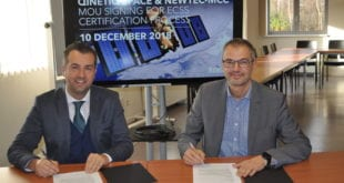 Thomas Van den Driessche, CEO, Newtec and Erik Masure, Managing Director, QinetiQ Space Belgium sign an MoU for ECCS Certification process