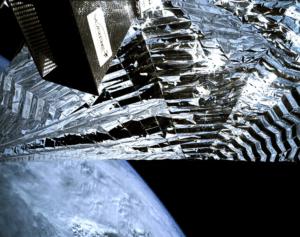 A camera captures drag sail deployment on TechDemoSat