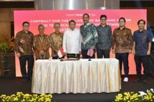 Pictured, left to right, at a signing ceremony in Jakarta, Indonesia: Mr. Timotius Sulaeman, PT. Dian Semesta Sentosa; Mr. Adi Rahman Adiwoso, PT. PSN; Mr. Erry Riana Hardjapamekas, PT. PSN; Mr. Rudiantara, Minister of Communication & Information Technology; Mr. Ramesh Ramaswamy, Hughes; Mr. Vaibhav Magow, Hughes; Mr. Arif Medianto, PT. Pintar Nusantara Sejahtera; and Mr. Adi Widjonarko, PT. Nusantara Satelit Sejahtera.