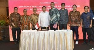Pictured, left to right, at a signing ceremony in Jakarta, Indonesia: Mr. Timotius Sulaeman, PT. Dian Semesta Sentosa; Mr. Adi Rahman Adiwoso, PT. PSN; Mr. Erry Riana Hardjapamekas, PT. PSN; Mr. Rudiantara, Minister of Communication & Information Technology; Mr. Ramesh Ramaswamy, Hughes; Mr. Vaibhav Magow, Hughes; Mr. Arif Medianto, PT. Pintar Nusantara Sejahtera; and Mr. Adi Widjonarko, PT. Nusantara Satelit Sejahtera.